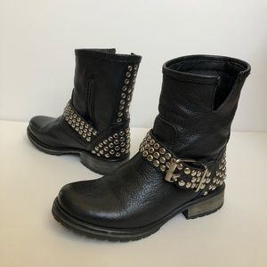 Steve Madden black leather studded boots